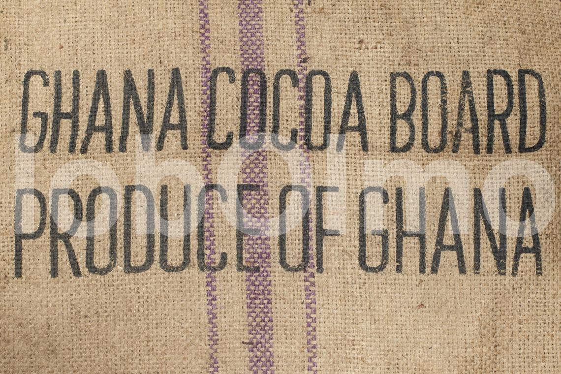 Kakaosack mit dem Emblem des COCOBOD